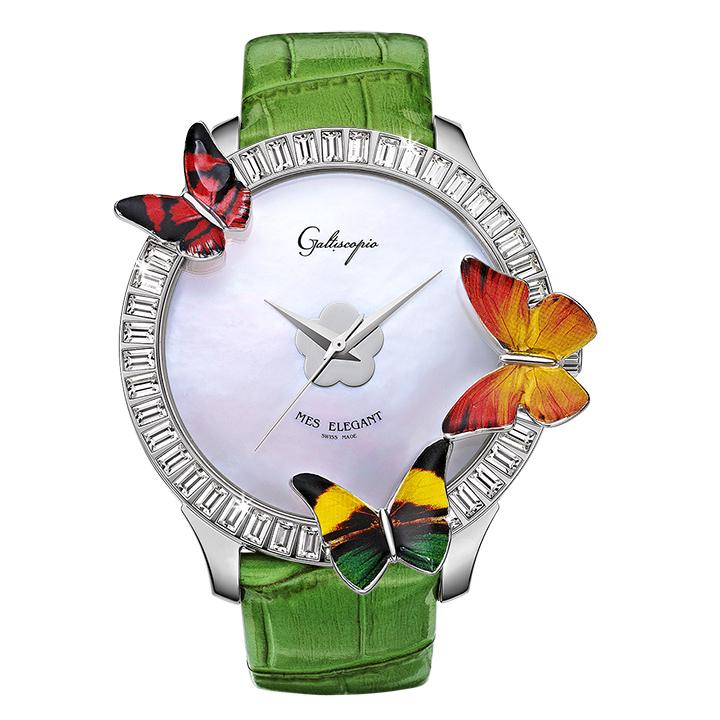 蝶とスワロフスキーの腕時計 Galtiscopio(ガルティスコピオ) MES ELEGANT 蝶7 グリーン レザーベルト