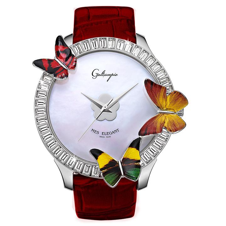 蝶とスワロフスキーの腕時計 Galtiscopio(ガルティスコピオ) MES ELEGANT 蝶8 ダークレッド レザーベルト
