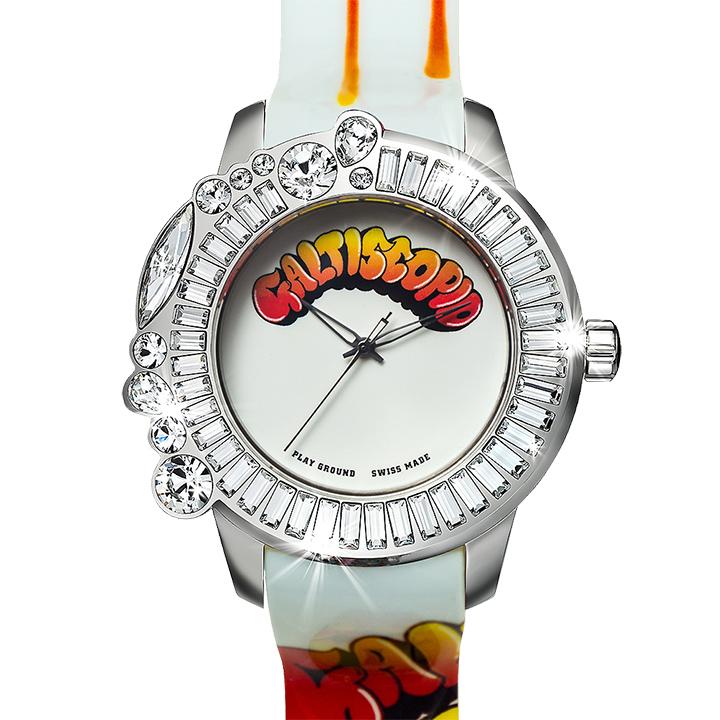 ポップアートなコラボ時計 Galtiscopio(ガルティスコピオ) PLAY GROUND PG2 ホワイトマルチ プリント
