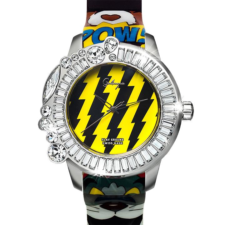 ポップアートなコラボ時計 Galtiscopio(ガルティスコピオ) PLAY GROUND PG3 イエローマルチ プリント