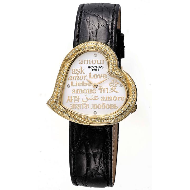 ダイヤモンドが散りばめられたハート型のレディース時計 フランスのラグジュアリーブランド ROCHAS(ロシャス)RJ64 ホワイト/ゴールド/ブラック ジュエリーウォッチ