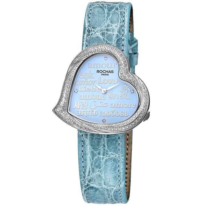 ダイヤモンドが散りばめられたハート型のレディース時計 フランスのラグジュアリーブランド ROCHAS(ロシャス)RJ67 サックスブルー/シルバー/サックスブルー ジュエリーウォッチ