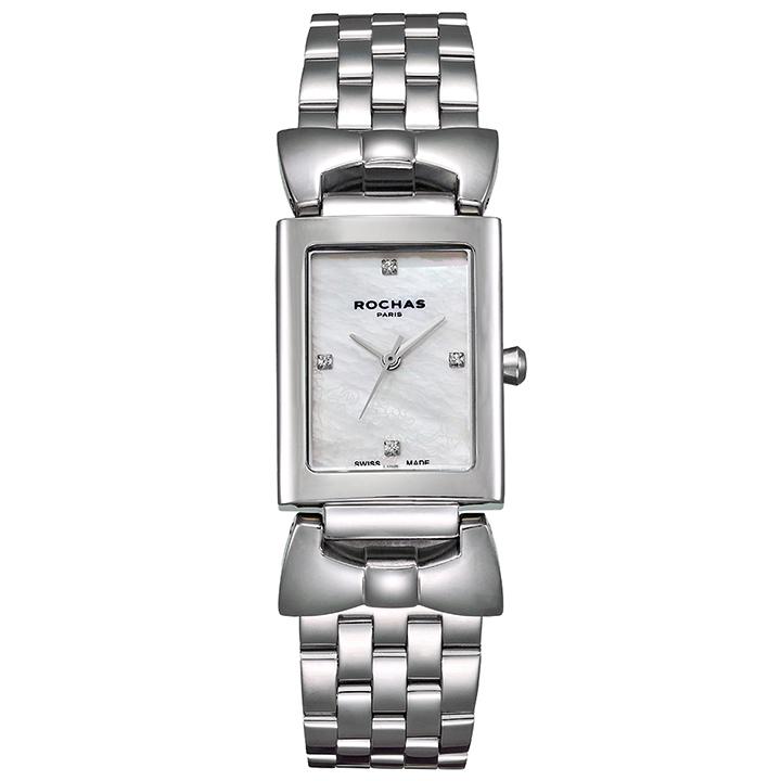 パリコレでお馴染みのモードなファッションブランド ROCHAS(ロシャス)のレディース腕時計 ARTDECO01 ホワイト/シルバー アールデコ リボンモチーフ 白蝶貝 メタルブレスレット スイスメイド