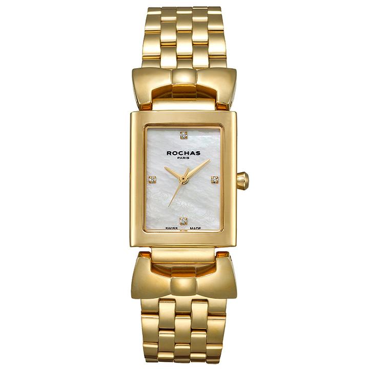 パリコレでお馴染みのモードなファッションブランド ROCHAS(ロシャス)のレディース腕時計 ARTDECO02 ホワイト/ゴールド アールデコ リボンモチーフ 白蝶貝 SSブレスレット スイス製