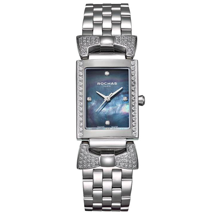 香水でお馴染みのラグジュアリーファッションブランド ROCHAS(ロシャス)のレディース腕時計 ARTDECO04 ブラック/シルバー リボンモチーフ 黒蝶貝 スイス製 フレグランス