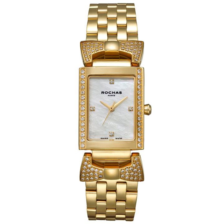 ファッション界を代表するフランスのラグジュアリーブランド ROCHAS(ロシャス)のレディース腕時計 ARTDECO05 ホワイト/ゴールド アールデコ リボンモチーフ 白蝶貝 スイスメイド