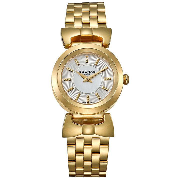 ファッション界を代表するフランスのラグジュアリーブランド ROCHAS(ロシャス)のレディース腕時計 ARTDECO07 シルバー/ゴールド アールデコ リボンモチーフ メタルブレスレット パリコレ スイス製