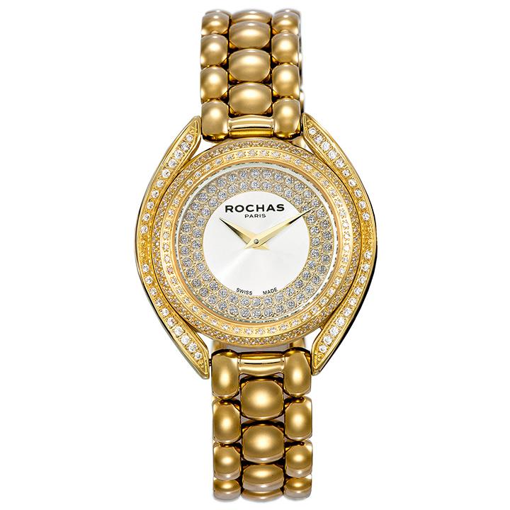 世界的に有名なフランスのラグジュアリーブランド ROCHAS(ロシャス)のメンズ腕時計 CASCADE03 シルバー/ゴールド SSブレスレット スイス製 ファッション