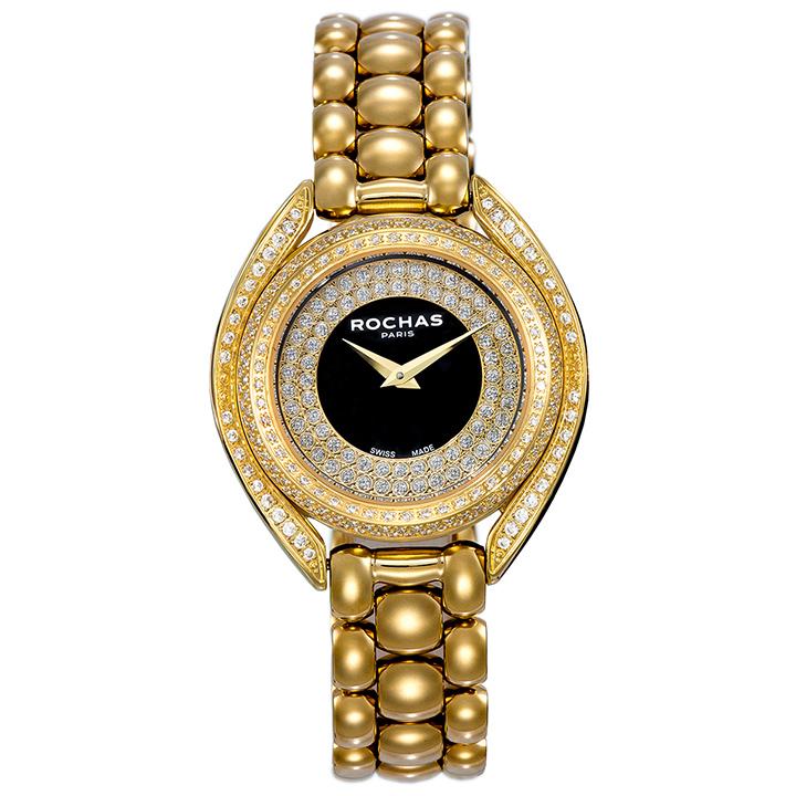 世界的に有名なフランスのラグジュアリーブランド ROCHAS(ロシャス)のメンズ腕時計 CASCADE04 ブラック/ゴールド メタルブレスレット スイス製 ファッション