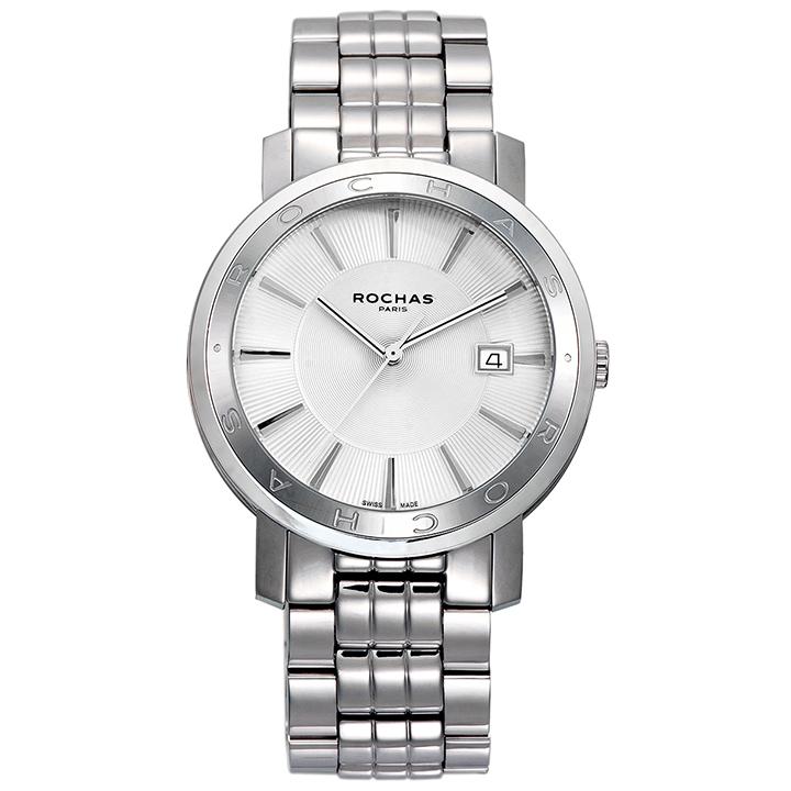 フランスを代表するラグジュアリーブランド ROCHAS(ロシャス)のシンプルでビジネスに最適なメンズ腕時計 CLASSIC01 シルバー クラシック SSブレスレット スイス製 ビジネスウォッチ