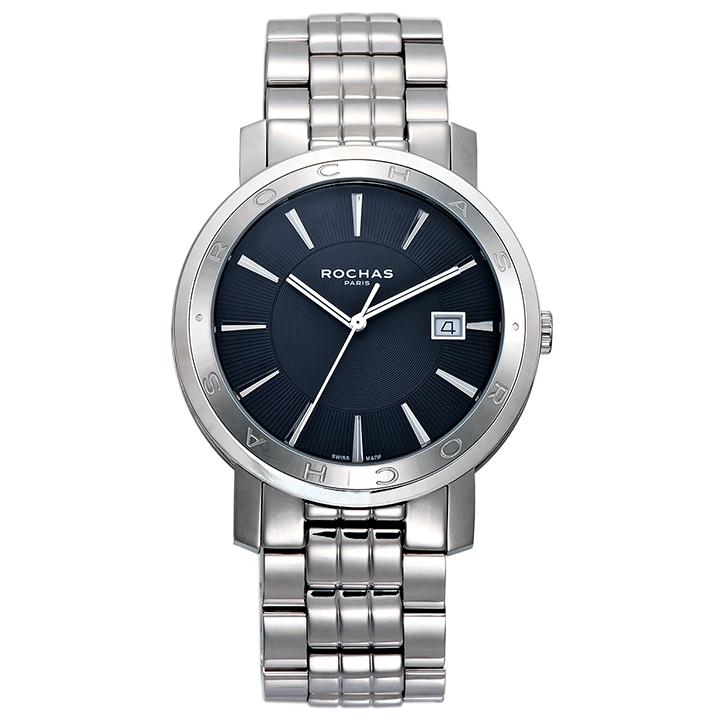 フランスを代表するラグジュアリーブランド ROCHAS(ロシャス)のシンプルでビジネスに最適なメンズ腕時計 CLASSIC02 ブラック/シルバー クラシック SSブレスレット スイスメイド