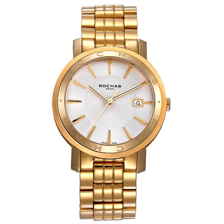 フランスを代表するラグジュアリーブランド ROCHAS(ロシャス)のシンプルでビジネスに最適なメンズ腕時計 CLASSIC03 シルバー/ゴールド クラシック SSブレスレット スイス製 ファッション