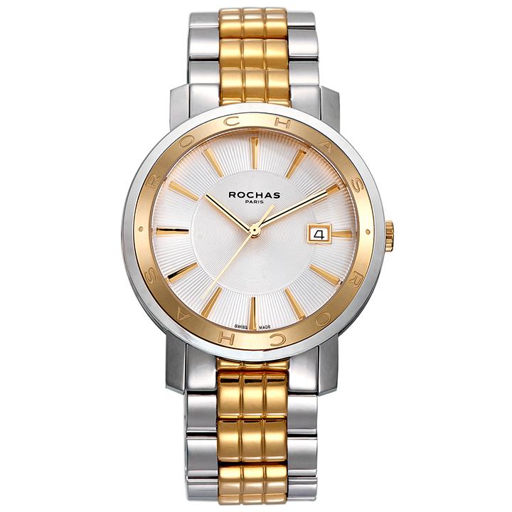 フランスを代表するラグジュアリーブランド ROCHAS(ロシャス)のシンプルでビジネスに最適なメンズ腕時計 CLASSIC04 シルバー/シルバー & ゴールド コンビ クラシック メタルブレスレット スイス製
