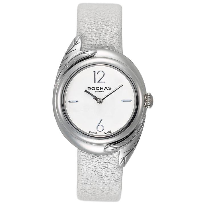 香水が世界的に人気のブランド ROCHAS(ロシャス)のレディース時計 FEATHER01 ホワイト/シルバー/ホワイト 本革ベルト 女性用 小さいサイズ フェザーモチーフ ラグジュアリーファッション フレグランス