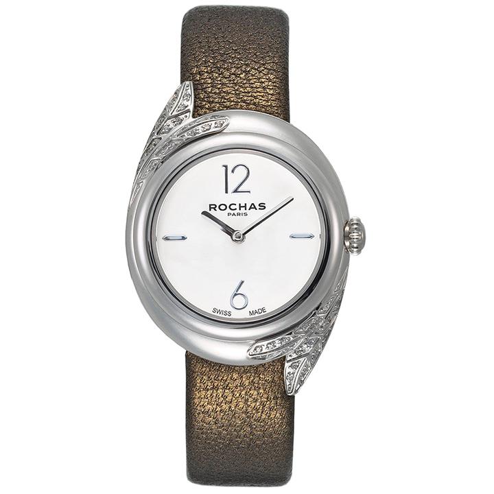 ロシャスの腕時計 FEATHER06 ホワイト/シルバー/ブロンズ 本革ベルト レディースウォッチ フランス ROCHAS PARIS 羽毛 フェザーモチーフ ラグジュアリーファッション