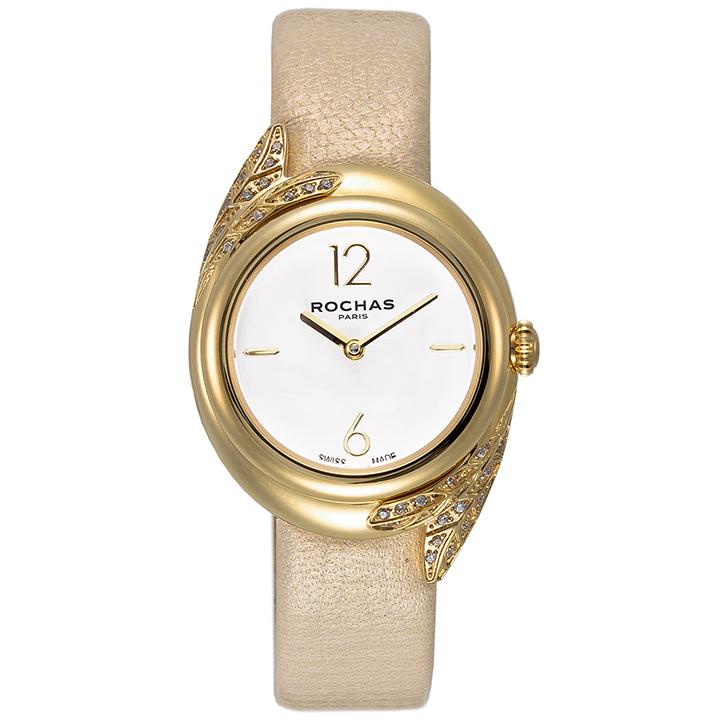 ROCHAS FEATHER07 ホワイト/ゴールド/ベージュ レディース腕時計 本革ベルト ロシャス 香水 フレグランス 羽毛 フェザー パリコレ ラグジュアリーファッション