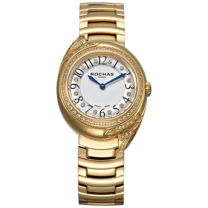ROCHAS(ロシャス)レディース腕時計 FEATHER11 シルバー/ゴールド SSブレスレット メタルブレス フェザーモチーフ パリコレ ラグジュアリーファッション フレグランス