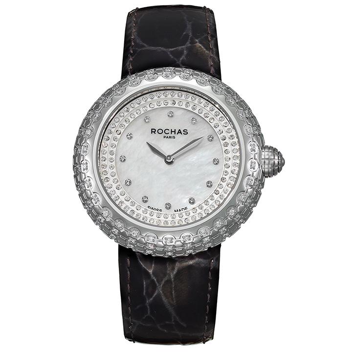 フランスを代表するラグジュアリーなファッションブランド ROCHAS(ロシャス)のレディース腕時計 MACARON01 ホワイト/シルバー/ブラック マカロンみたいなキラキラ時計 白蝶貝 エナメルベルト ファッションウォッチ