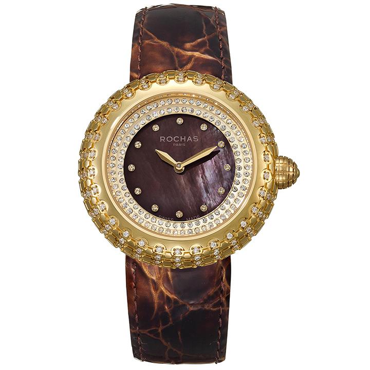 フランスを代表するラグジュアリーなファッションブランド ROCHAS(ロシャス)のレディース腕時計 MACARON03 ブラウン/ゴールド/ブラウン マカロンみたいなキラキラ時計 黒蝶貝 エナメルベルト ファッションウォッチ