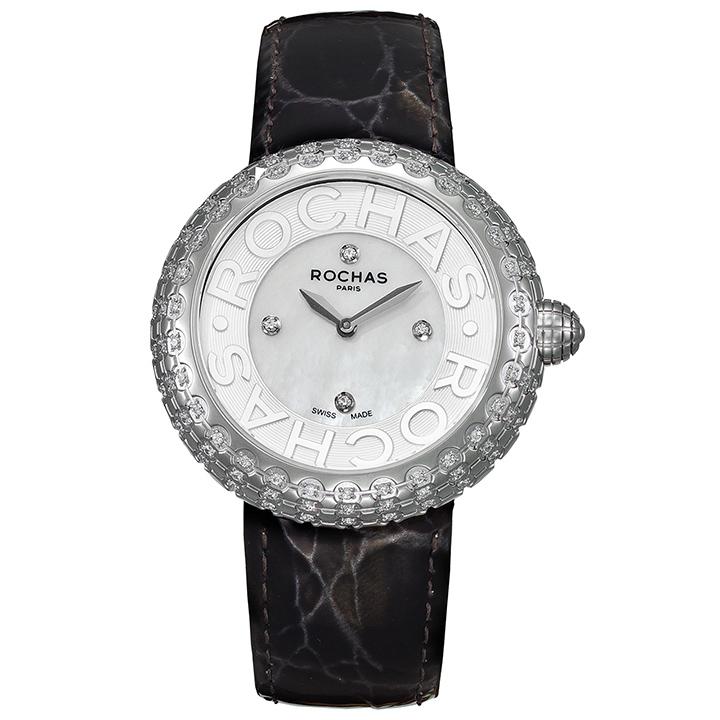 フランスのラグジュアリーブランド ROCHAS(ロシャス)のレディース時計 MACARON05 ホワイト/シルバー/ブラック 白蝶貝 エナメルベルト マカロン ファッションウォッチ
