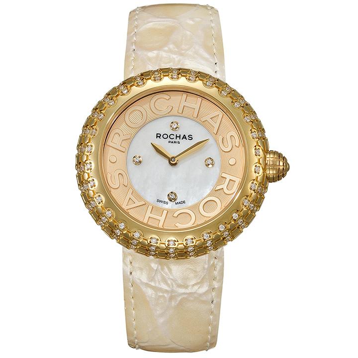 フランスのラグジュアリーブランド ROCHAS(ロシャス)のレディース時計 MACARON07 ホワイト/ゴールド/ベージュ 白蝶貝 エナメルベルト マカロン ファッションウォッチ