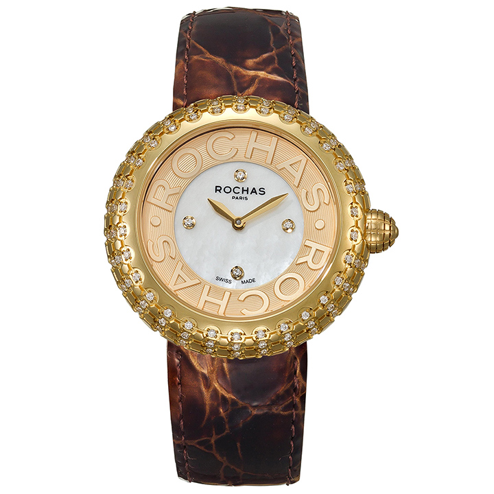 フランスのラグジュアリーブランド ROCHAS(ロシャス)のレディース時計 MACARON08 ホワイト/ゴールド/ブラウン 白蝶貝 エナメルベルト マカロン ファッションウォッチ