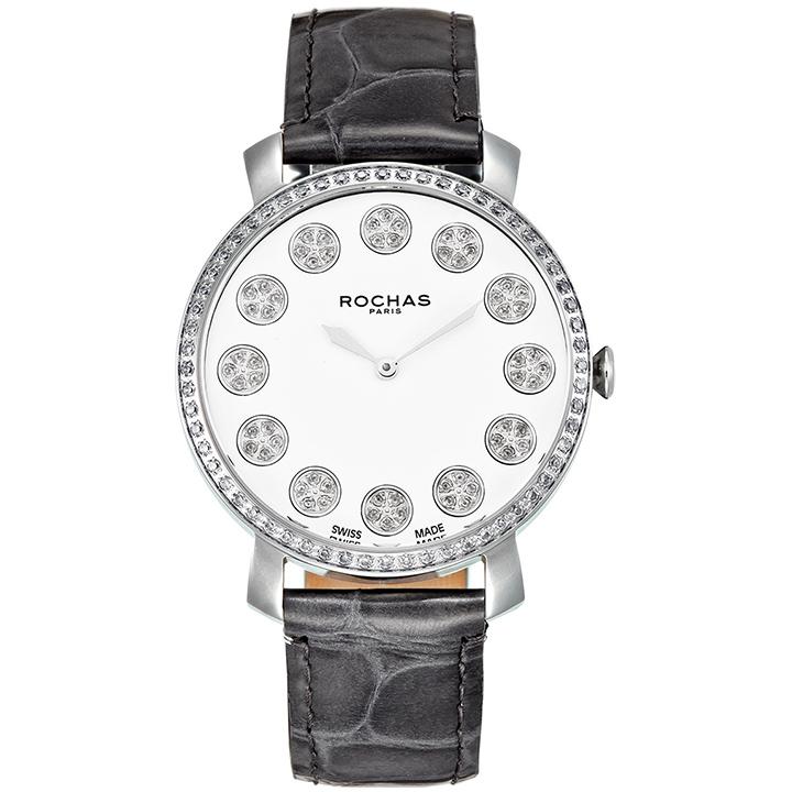 フレグランスが世界的に有名なフランスのファッションブランド ROCHAS(ロシャス)のレディース腕時計 RJ12 ホワイト/シルバー/グレー 本革ベルト スイス製 香水