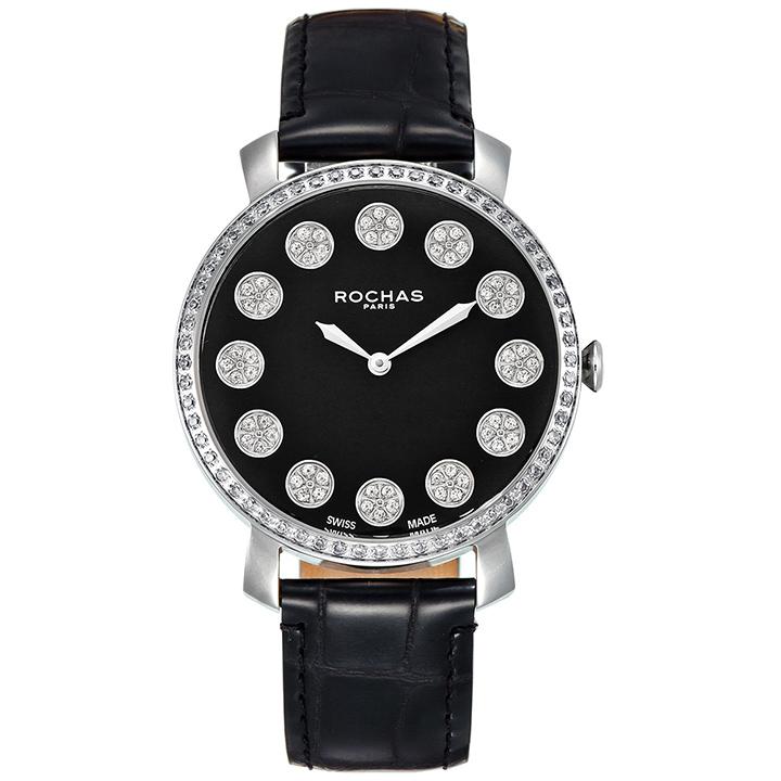 フレグランスが世界的に有名なフランスのファッションブランド ROCHAS(ロシャス)のレディース腕時計 RJ13 ブラック/シルバー/ブラック ジュエリーインデックス 黒文字盤 スイス製