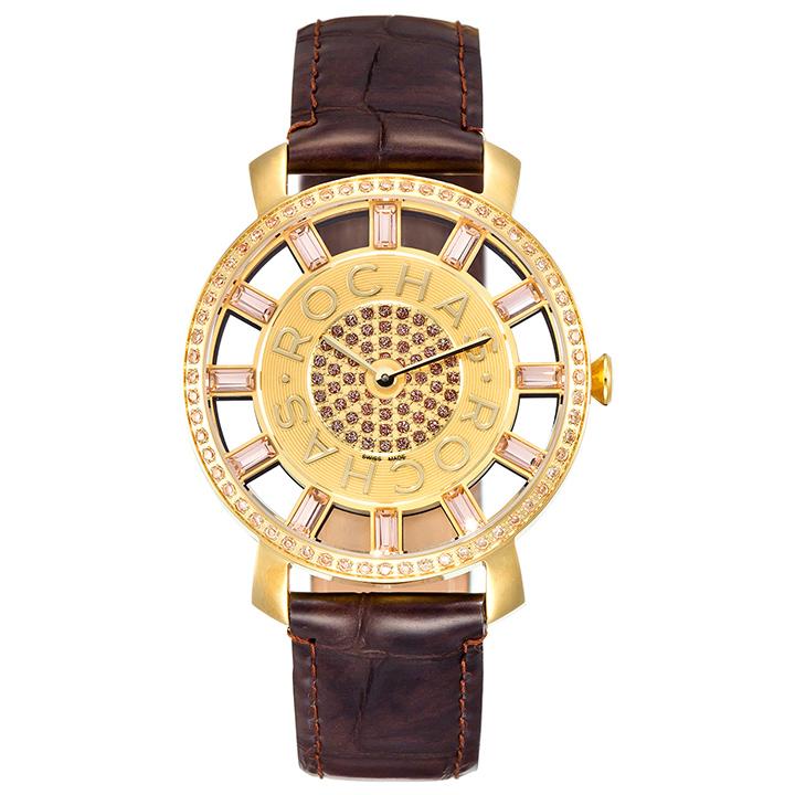 香水が世界的に有名なフランスのラグジュアリーブランド ROCHAS(ロシャス)の腕時計 RJ19 ゴールド/ダークブラウン ユニセックス時計 ジュエリーウォッチ ファッション