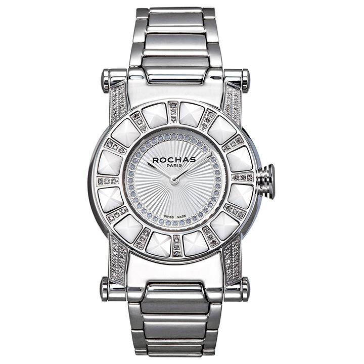 世界的に有名なフランスのラグジュアリーファッションブランド ROCHAS(ロシャス)の男女兼用腕時計 RJ25 シルバー ダイヤモンド SSブレスレット ジュエリーウォッチ スイス製