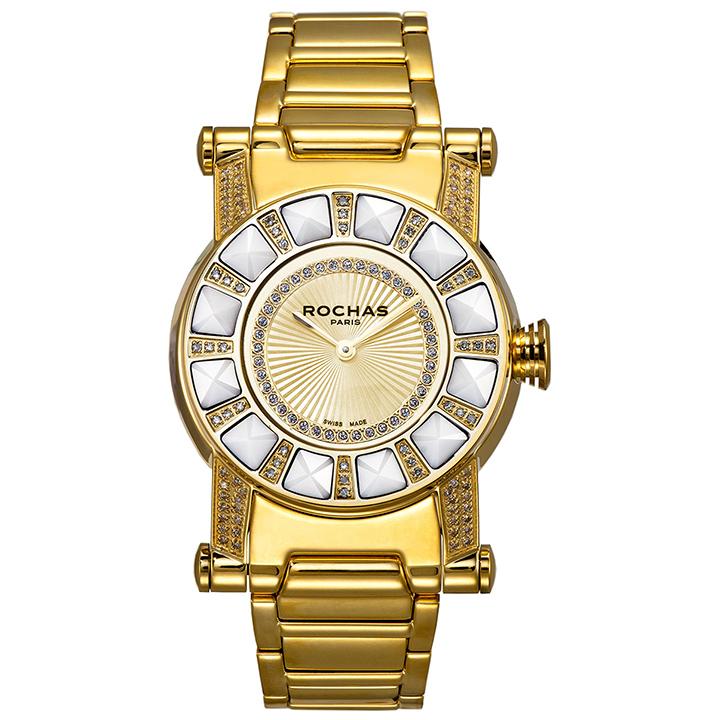 世界的に有名なフランスのラグジュアリーファッションブランド ROCHAS(ロシャス)のジュエリーウォッチ RJ28 ゴールド ダイヤモンド メタルブレス ユニセックス時計 スイス製