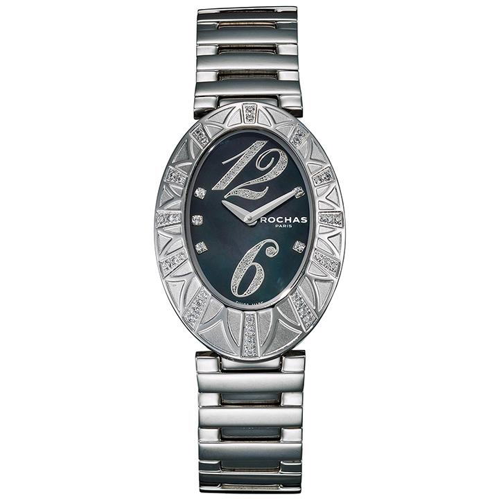 フレグランスが世界的に有名なフランスのファッションブランド ROCHAS(ロシャス)のレディース腕時計 RJ03 ブラック/シルバー SSブレスレット メタルブレス 黒蝶貝 ラグジュアリー スイス製