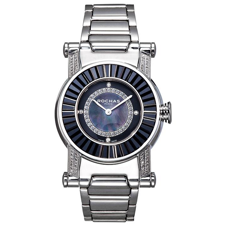 世界的に有名なフランスのラグジュアリーファッションブランド ROCHAS(ロシャス)のジュエリーウォッチ RJ30 ブラック/シルバー ダイヤモンド SSブレスレット 男女兼用腕時計 スイス製