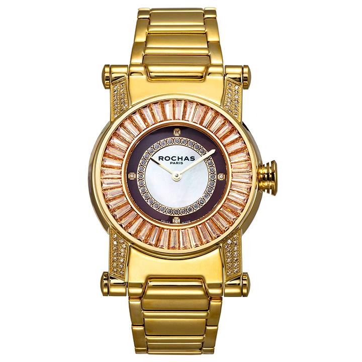 世界的に有名なフランスのラグジュアリーファッションブランド ROCHAS(ロシャス)のジュエリーウォッチ RJ31 ホワイト/ゴールド ダイヤモンド レディース時計 メンズ時計 スイスメイド