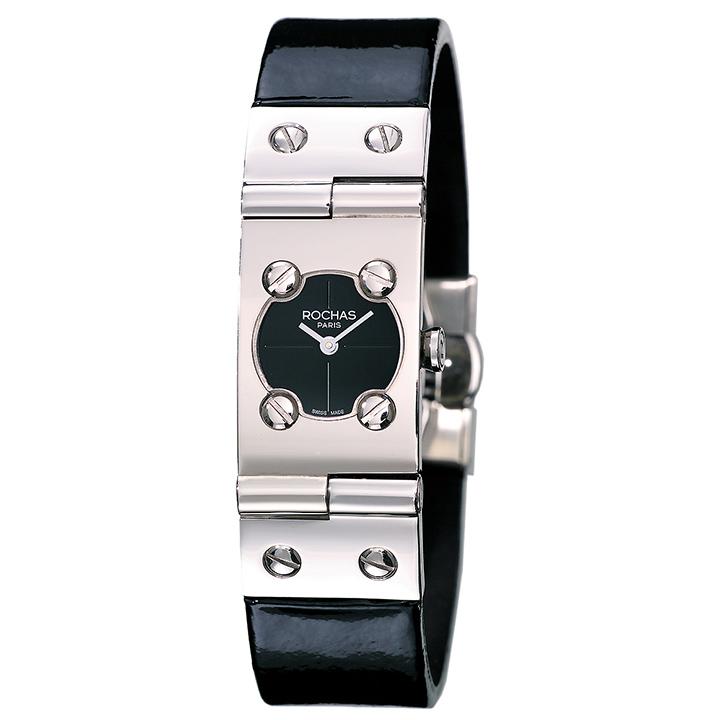 ROCHAS(ロシャス)エナメル バングルウォッチ RJ37 ブラック/シルバー/ブラック レディース腕時計 フランス ラグジュアリーブランド ファッションウォッチ スイス製
