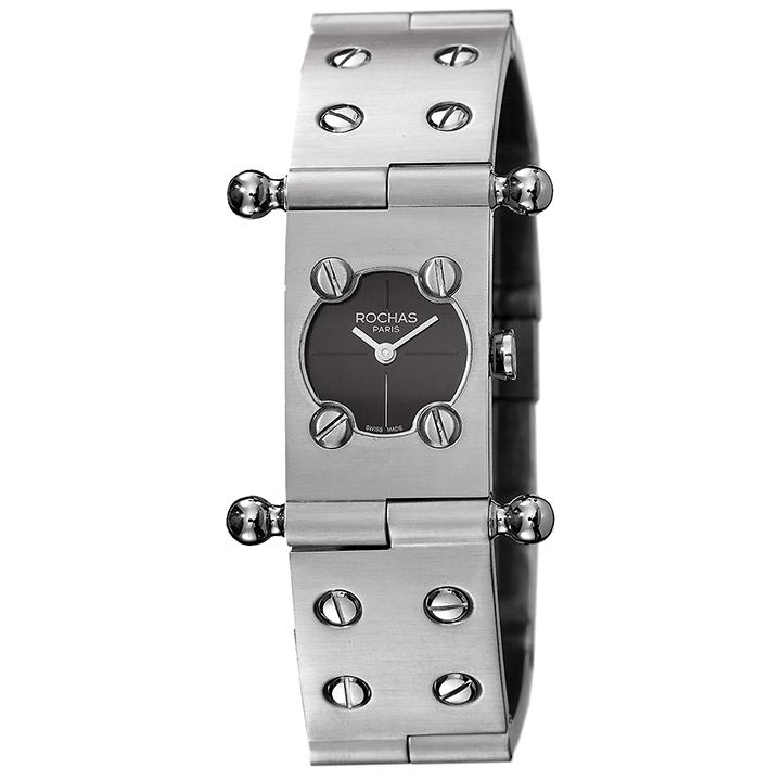 ROCHAS(ロシャス)腕時計 RJ41 ブラック/シルバー レディース SSブレスレット メタルブレスレット バングルウォッチ ラグジュアリー スイスメイド