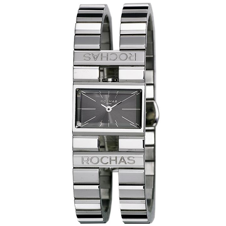 香水が世界的に有名なフランスのファッションブランド ROCHAS(ロシャス)のレディース腕時計 RJ44 ブラック/シルバー SSブレスレット バングルウォッチ ブレスウォッチ ラグジュアリー