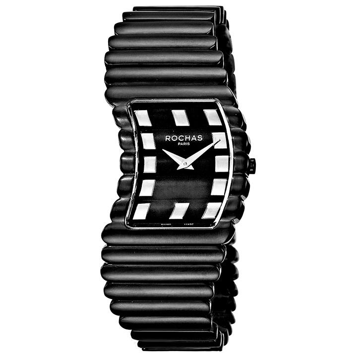 香水が世界的に有名なフランスのファッションブランド ROCHAS(ロシャス)のレディース腕時計 RJ47 ブラック/ブラック SSブレスレット ブレスウォッチ バングルウォッチ スイス製
