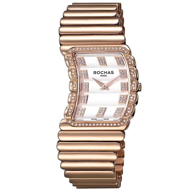 香水が世界的に有名なフランスのファッションブランド ROCHAS(ロシャス)のレディース腕時計 RJ49 シルバー/ローズゴールド ダイヤモンド SSブレスレット バングルウォッチ ジュエリーウォッチ スイスメイド