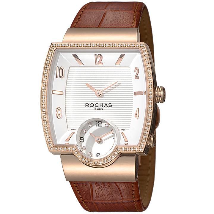 フランスのラグジュアリーブランド ROCHAS(ロシャス)メンズ時計 RJ50 ホワイト/ローズゴールド/ブラウン ダイヤモンド スクエアフェイス スモールセコンド ジュエリーウォッチ スイス製