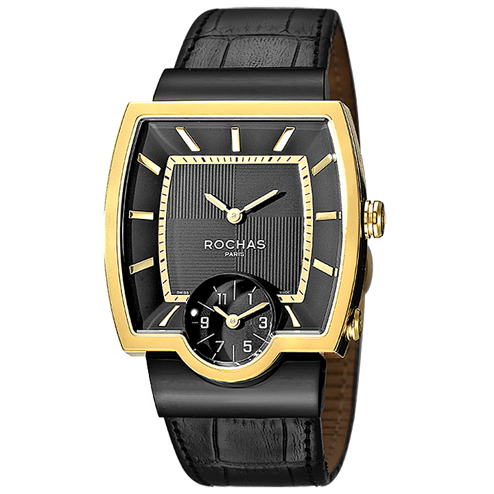 フランスのラグジュアリーブランド ROCHAS(ロシャス)メンズ時計 RJ52 ブラック/ゴールド/ブラック スクエアフェイス スモールセコンド 黒金 スイス製