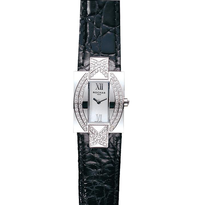 フランスのラグジュアリーファッションブランド ROCHAS(ロシャス)のレディースウォッチ RJ53 ホワイト/シルバー/ブラック レクタングラー 白蝶貝 女性用腕時計 小さいサイズ スイス製