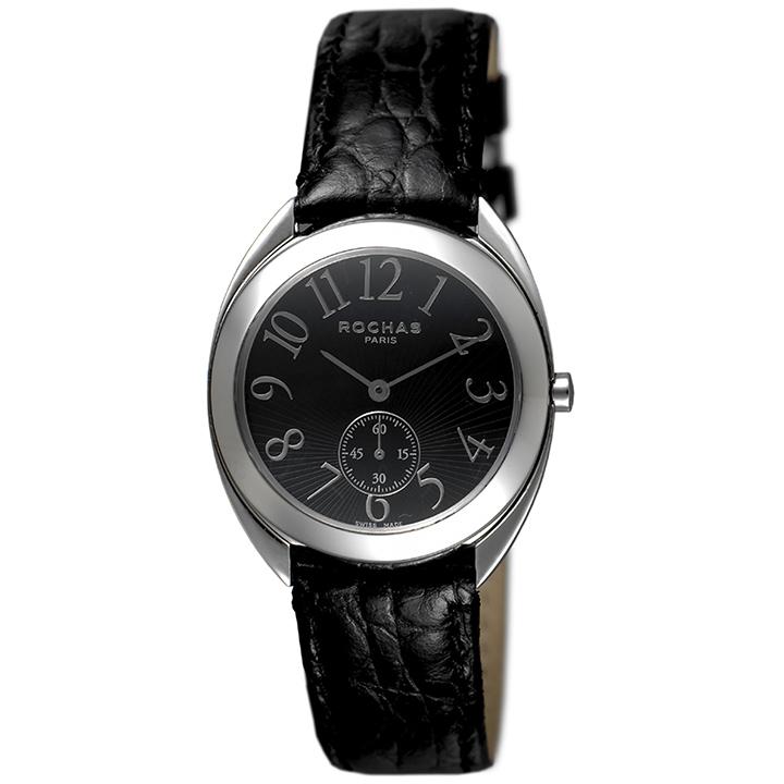 香水が世界的に有名なフランスのファッションブランド ROCHAS(ロシャス)のレディース腕時計 RJ55 ブラック/シルバー/ブラック スモールセコンド 黒文字盤 ラグジュアリー スイス製