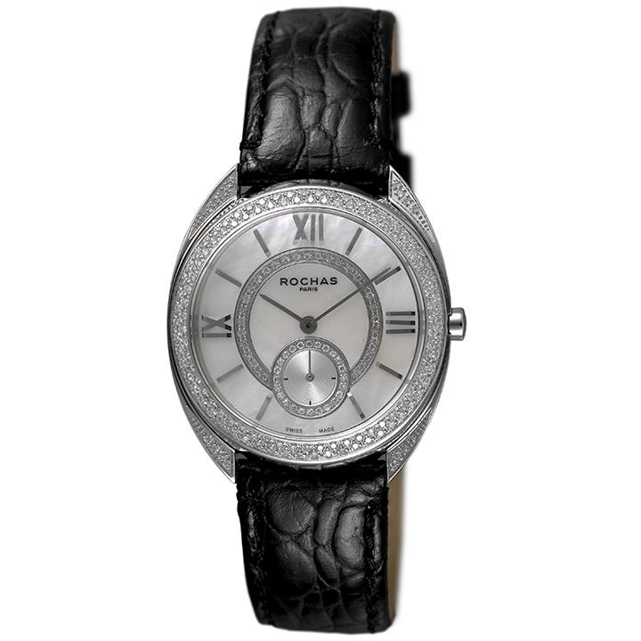 香水が世界的に有名なフランスのファッションブランド ROCHAS(ロシャス)のレディース腕時計 RJ57 ホワイト/シルバー/ブラック ダイヤモンド スモールセコンド 白蝶貝 MOP ジュエリーウォッチ スイス製