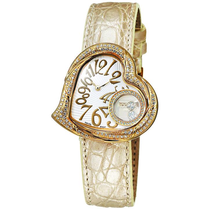 ダイヤモンドが散りばめられたハート型のレディース時計 フランスのラグジュアリーブランド ROCHAS(ロシャス)RJ60 ホワイト/ゴールド/ベージュ ジュエリーウォッチ