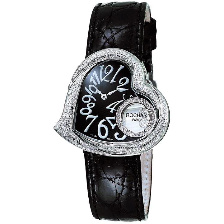 ダイヤモンドが散りばめられたハート型のレディース時計 フランスのラグジュアリーブランド ROCHAS(ロシャス)RJ61 ブラック/シルバー/ブラック ジュエリーウォッチ