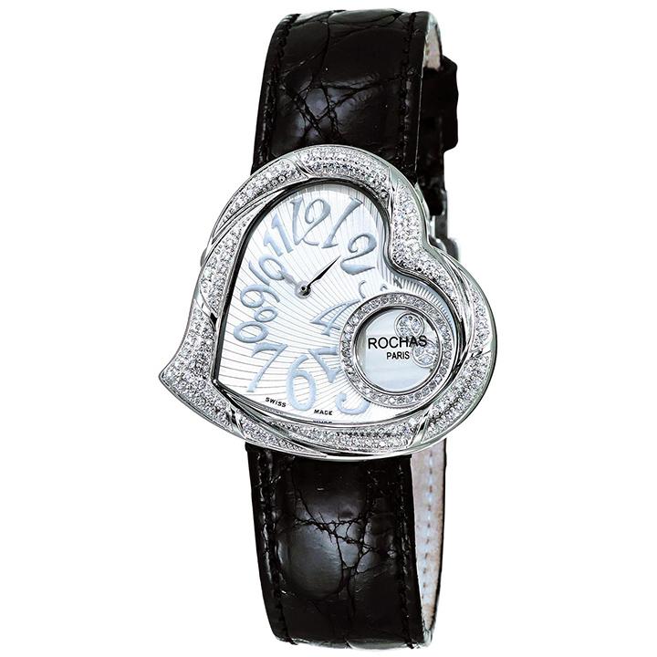 ダイヤモンドが散りばめられたハート型のレディース時計 フランスのラグジュアリーブランド ROCHAS(ロシャス)RJ62 シルバー/シルバー/ブラック ジュエリーウォッチ