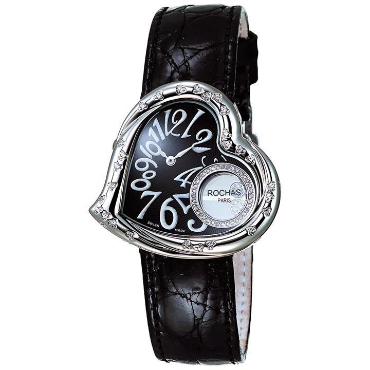 ダイヤモンドが散りばめられたハート型のレディース時計 フランスのラグジュアリーブランド ROCHAS(ロシャス)RJ63 ブラック/シルバー/ブラック ジュエリーウォッチ