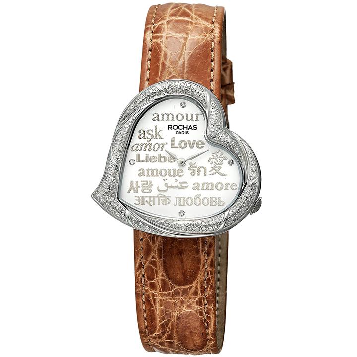 ダイヤモンドが散りばめられたハート型のレディース時計 フランスのラグジュアリーブランド ROCHAS(ロシャス)RJ65 ホワイト/シルバー/ブラウン ジュエリーウォッチ