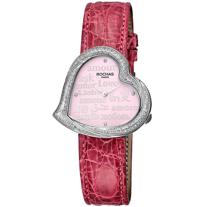 ダイヤモンドが散りばめられたハート型のレディース時計 フランスのラグジュアリーブランド ROCHAS(ロシャス)RJ66 ピンク/シルバー/ピンク ジュエリーウォッチ